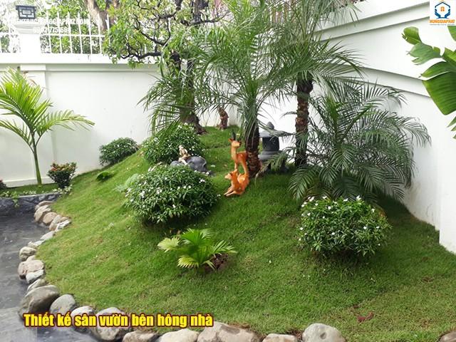 Thiết kế sân vườn bên hông nhà